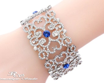 Crystal bridal bracelet, Rhinestone cuff, Wedding bracelet, Art Deco bridal jewelry, Crystal bridal accessory, Wedding jewelry B0159