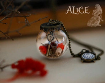 Alice in Wonderland necklace- locket - Alice's Dream pendant - the key- fairytale - once upon a time - secret message
