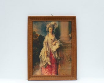 French large framed large  Marie Antoinette print Wood surround Charming and elegant