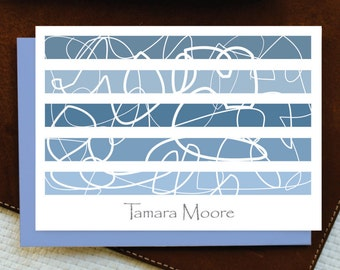 Personalized Stationary / MODERN STRIPES / Personalized Stationery Note Card Set / 10 Note Cards + envelopes