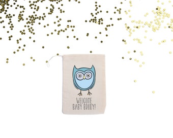 Blue Owl {set of 10} Personalized Baby Shower Muslin Favor Bags