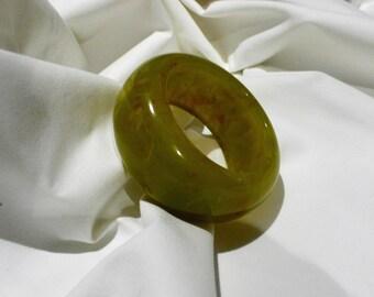 Chunky Marbled Green Bakelite Bangle Bracelet