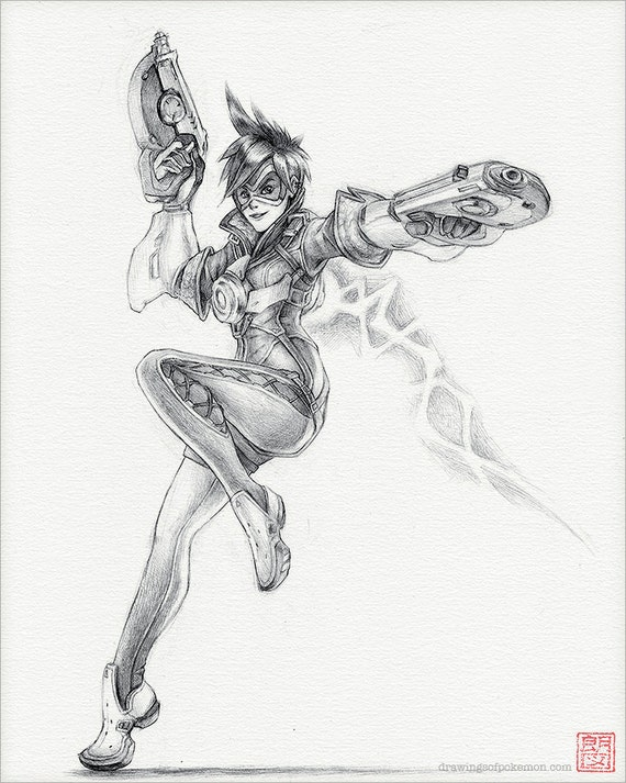 Tracer overwatch 8 x 10 print overwatch drawing for Dessin graphique noir et blanc