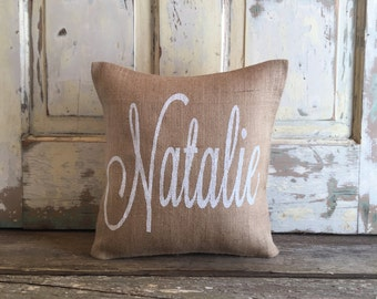 Baby name gift etsy burlap pillow name monogram pillow nursery pillow baby gift baby girl negle Images