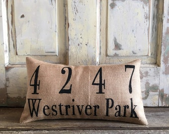 Burlap Pillow- House Numbers pillow | Address pillow | Front Porch lumbar | | Personalized pillow | Realtor Gift | Housewarming Gift