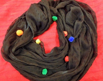 Black Pom pom infinite scarf-Black Summer