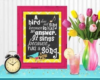 Bird Song Wall Art Room Decor Digital Printable 8x10... Instant Download
