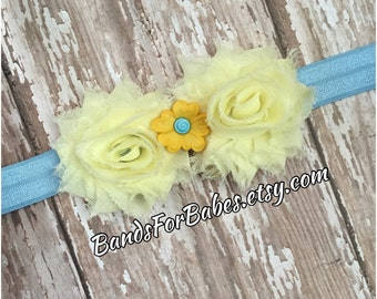 SALE Pastel Yellow & Blue Petite Shabby Chic Flower Headband, Baby Headband, Toddler Headband, Light Blue and Sky Blue Baby Bow, Easter Hair