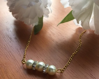Gold OR Silver pearl beaded bar necklace