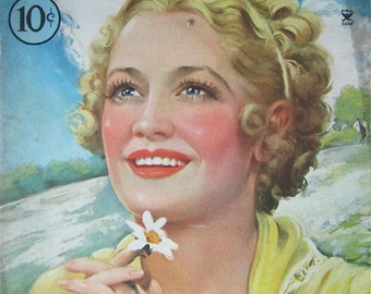 Original June 1935 Miriam Hopkins Silver Screen Magazine Cover By Marland Stone - Hollywood's Golden Age - Free Shipping
