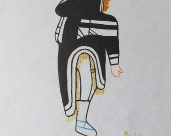 Woman 1979 Inuit Linocut And Stencil By Nancy Kangeryuaq #47/50