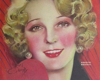 Original February 1931 Dorothy Mackaill Photoplay Magazine Cover By Earl Christy - Hollywood's Golden Age - Free Shipping
