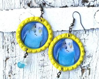 Blue Budgie Earrings, Budgerigar PaRaKeEt, PaRakeet EARRINGS, PaRRot Jewelry, Bird Earring, BiRd JeWelry, Bottle Cap EaRRing