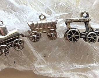 Vintage Sterling Silver Charms or Miniatures - Moveable Wheeled Stage Coach, Horse and Buggy, Surrey with the Fringe on Top, Pump Wagon