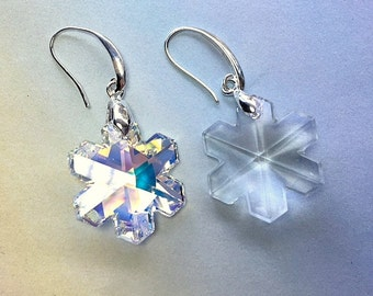 Small and Medium Swarovski Crystal Earrings Regular and AB Crystal on Sterling Silver Wires