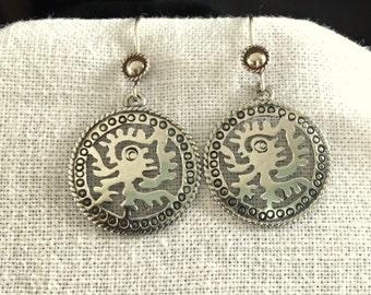 Vintage Taxco Sterling Silver Aztec, Mayan or Inca Design Earrings
