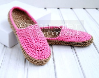 CROCHET PATTERN women slippers with rope soles,soles pattern included,slip ons, shoes,loafers,scuffs,clogs,adult,teen,girls,footwear,cord