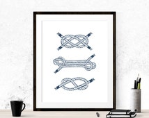 Nautical Art Print, Nautical Knots Wall Art, Nautical Knots, Nursery Wall Art, Nautical Art, Printable Art, Nursery Print, Navy Blue Print