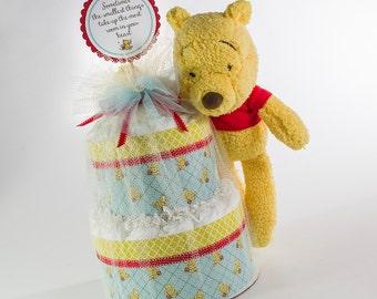 Diaper Cake - Diaper Cakes - Baby Shower Gift - Baby Shower Decor - Classic Pooh Bear Diaper Cake - Classic Pooh Bear Baby Shower