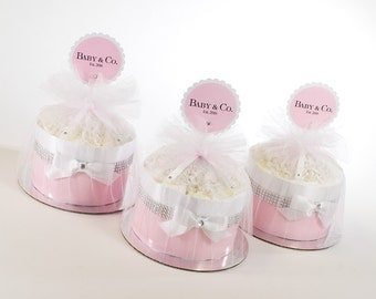 Baby & Co. Diaper Cake - Mini Diaper Cake Set - Baby Girl Baby Shower - Baby Shower Decor - Baby Shower Centerpiece
