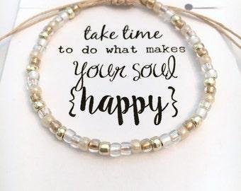 "Happy Soul HEMP bracelet ~ White/Gold/Champagne Seed Bead Hemp bracelet, macrame knot adjustable ~""Vintage Wedding"" designer 6/0 TOHO beads"