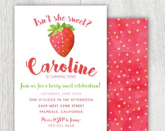 Printable strawberry invitation - Strawberry first birthday - Berry Sweet Celebration - Watercolor - Baby Shower - Customizable