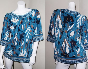 Artsy Spring & Summer Abstract Blue Floral Tunic Top Blouse Size M
