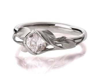 Leaves Engagement Ring - 18K White Gold and Diamond engagement ring, engagement ring, leaf ring, filigree, antique,art nouveau,vintage, 6