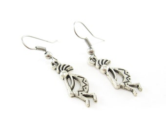 Kokopelli Earrings, Silver Tone, Hooks
