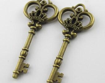 3pcs 31x82mm Antique Bronze Cute Key Charm Pendant