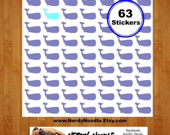 Whale Planner Stickers, 63, Whale Stickers, Whale Sticker Set, Whale Envelope Seals, Whale Scrapbook Stickers, Whales