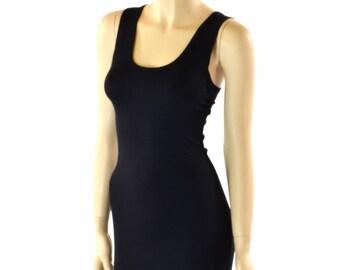 Little Black Dress LBD Lycra Spandex Soft Knit with Scoop Tank Neckline Bodycon Clubwear Date Night  151517