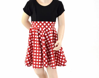Toddlers and Girls Size 2T 3T 4T and 5-12 Red & White Minnie Polka Dot Cap Sleeve Skater Dress with Black Bodice 152312