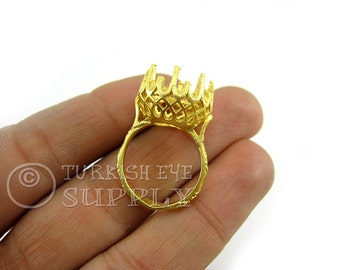 2 Pc Ring Base Blank, Gold Ring Base Blank for 11mm Cabachon, Matte 22K Gold Plated Brass