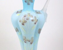 Antique Glass Vase Blue Cased Hand Painted Flowers Twig Form Handle Molded Shape