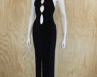 Vintage 1990's ELEGANT MOMENTS Black Stretch Cut Out Backless Long Evening Clubwear Dancewear Dress Small