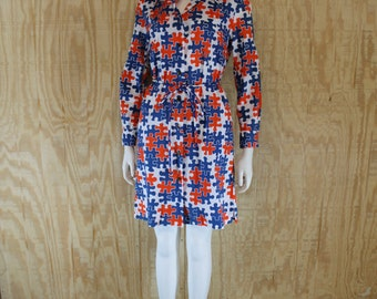 Vintage 1960's TANNERWAY Red / White / Blue Novelty Puzzle Pieces Print Belted Shift Dress S / M