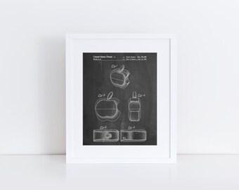 Apple Logo Flip Phone Patent Poster, Apple Computer, Steve Jobs, Technology Art, Nerd Gift, PP0260