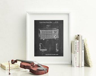 Vintage Table Radio Patent Poster, Transistor Radio, Music Lover Gift, Vintage Wall Art, Living Room Wall Decor, Music Room Decor, PP1126