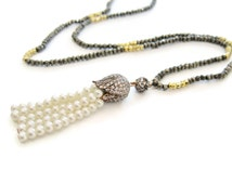 Long Beaded TASSEL Necklace, Pearl Tassel Necklace, Gold Bead Tassel Necklace, Semi-precious Gemstone Beaded Necklace, Christmas Gift Idea