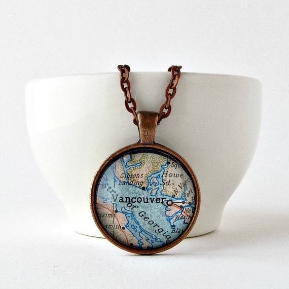 Vancouver Map Necklace / Canada Map Necklace / Map Pendant