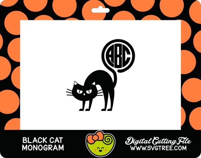 black cat svg halloween svg cat monogram svg commercial free cricut files silhouette files