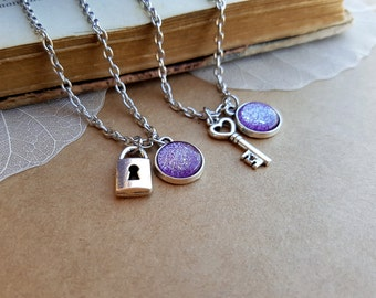 2 Key and Padlock Necklaces, Key Necklace, Lock Necklace, skeleton key, padlock necklace, matching necklaces, his hers necklaces, Ice Purple