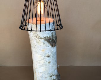 "21"" Birch Log Lamp with Edison Bulb and Optional Wire Lamp Shade"