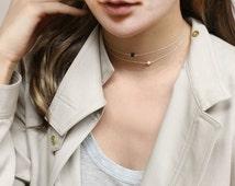 Chocker necklace - gemstone choker necklace in Gold filled or Sterling silver  EN036