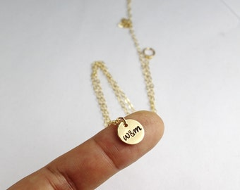 Personalized Gold Disc Necklace - Dainty 14K Gold Filled - Hand Stamped Couples Necklace - Sterling Silver Initial Jewelry,Personalized