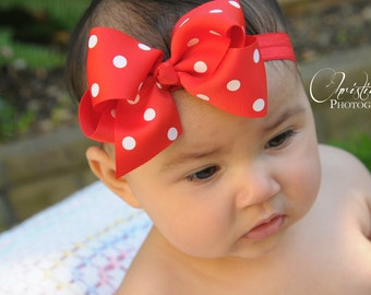 Baby girl headband, red and white polka dot, bow headband, hair bows on clip, 1st birthday headband, baby bows, mouse birthday,