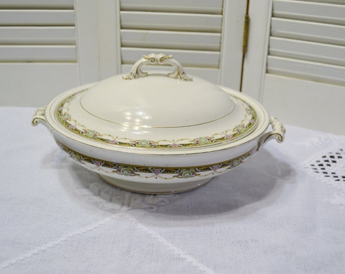 Vintage Johnson Bros Covered Casserole Serving Bowl with Lid Floral Design Made in England PanchosPorch