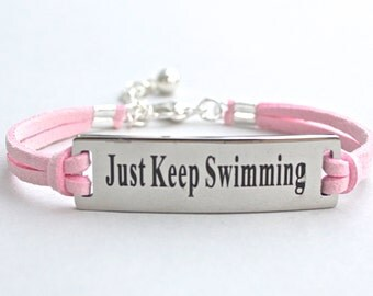 "Stainless Steel "" Just Keep Swimming "" Bracelet - Faux Suede Leather Cord - Affirmation Charm Bracelet - Gift For Her , ST755"