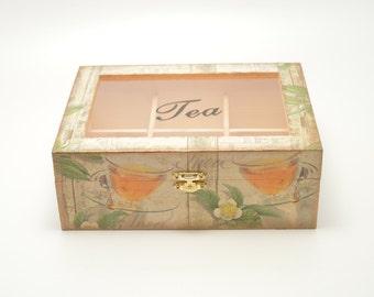 Decoupage tea box, wooden box, tea box, tea cups decoration, decoupage box, wooden tea box, shabby chic, shabby chic box,  tea cups